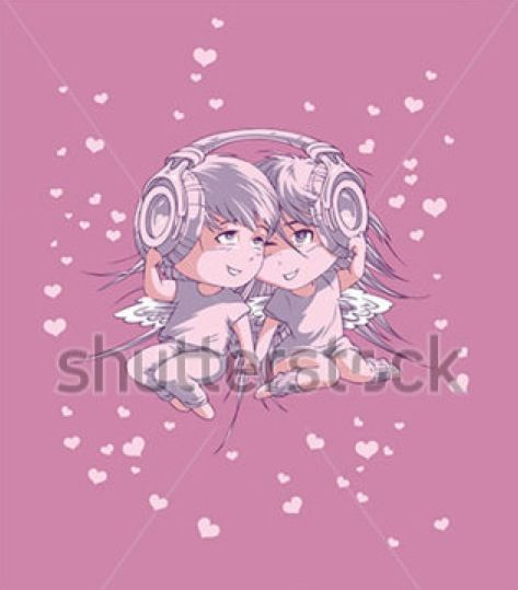 Valentine's day boy and girl in headphones #valentine #holiday #love #illustration #postcard #greeting