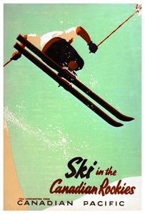 SKI IN THE CANADIAN ROCKIES Vintage Canadian Pacific Travel Poster c.1945 - Eurographics