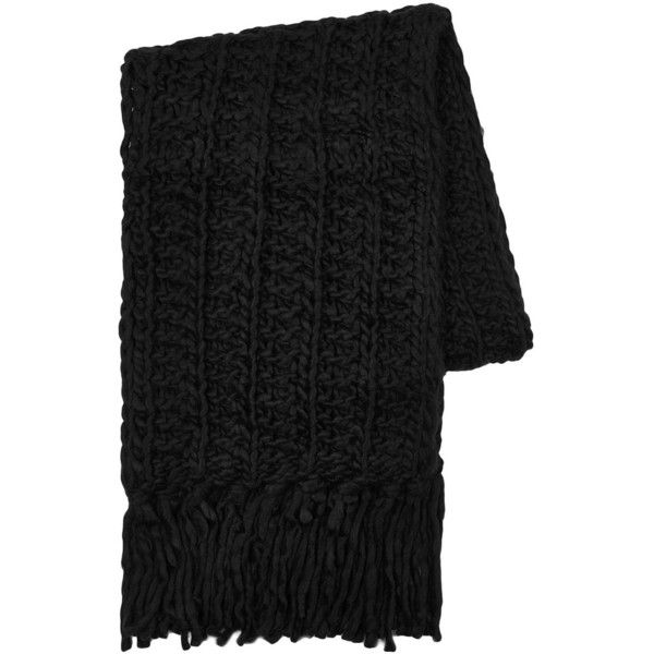 TOPMAN Black Super Chunky Scarf (€11) ❤ liked on Polyvore featuring men's fashion, men's accessories, men's scarves, black and topman