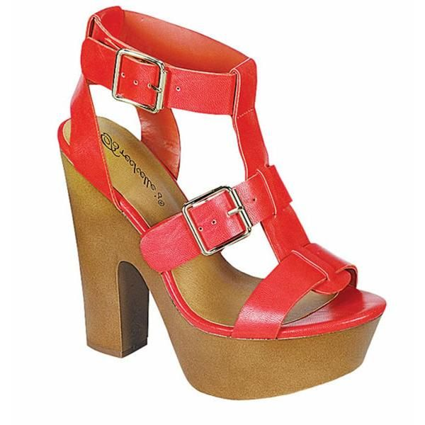 EF80 Women's Buckle Strap Platform Chunky Heel Sandals - $104.77
