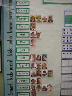 birthday calendar & classroom pics - taken first day of school with favorites listed