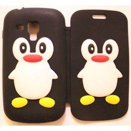 Galaxy Trend musta kannellinen pingviini silikonisuojus.