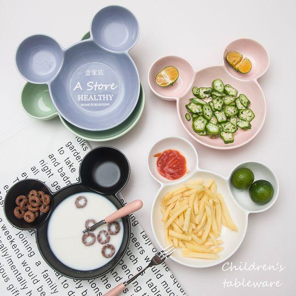 Керамический суб-сетки диск милый завтрак тарелка салатник десерт украшения мультфильм Микки чаши противень для детской посуды