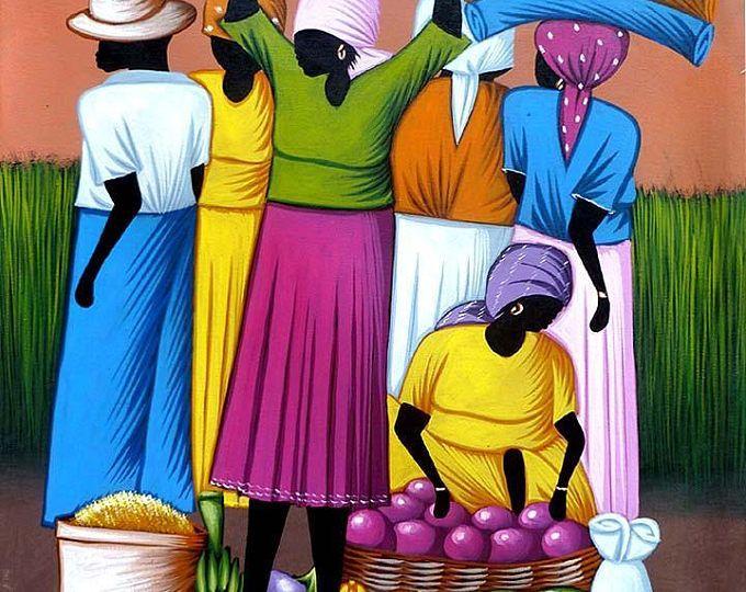Pintura, lona de arte haitiano, arte de la pintura haitiana de Haití, escena de mercado haitiano, lona de arte, pintadas, pintura Original - 20 x 24