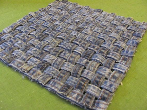 Recycle -Repurpose-Reuse |Recycled denim  / blue jean seams / trivet / hot pad/ blue jeans / woven / 9 x 9 on Etsy, $12.00 #recycle #denim #jeans