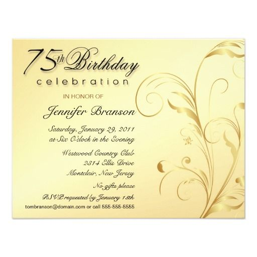 61 best 75th birthday invitations images on pinterest | 75th, Birthday invitations