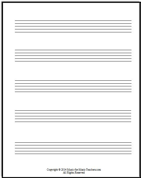 Staff Paper PDFs - Download Free Staff Paper   Staff paper PDFs for your music studio or lessons. Download printable staff paper as the grand staff, treble clef, bass clef, and viola clef. FREE!