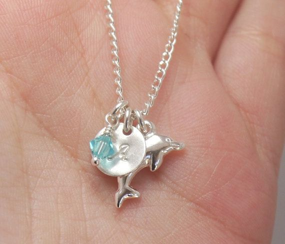 Dolphin Necklace, Personalized Initial Necklace, Little Girl Necklace, Niece Birthday Necklace, Birthday Party Favor, Birthstone Necklace