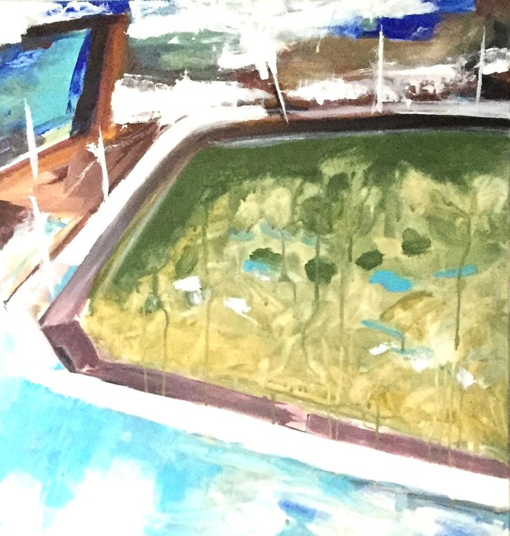 2015 Beyond Bondi - Permission to Swim Jilly Collins? 60x60cm Acrylic on Canvas.  North Bondi Ocean Pool is a great place for kids to swim, sheltered by an edge of natural rock and a man made edge, Jilly Collins is a Literary Character who may supervise these swimming billy lids
