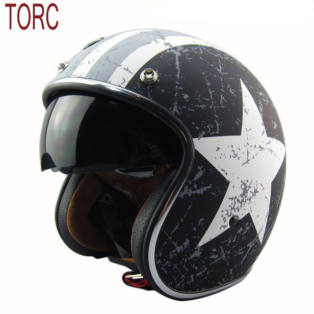 Nueva marca de la llegada TORC T57 vintage casco de la motocicleta vespa open face casco Capitán américa 3/4 capacete cascos de la bandera de Italia