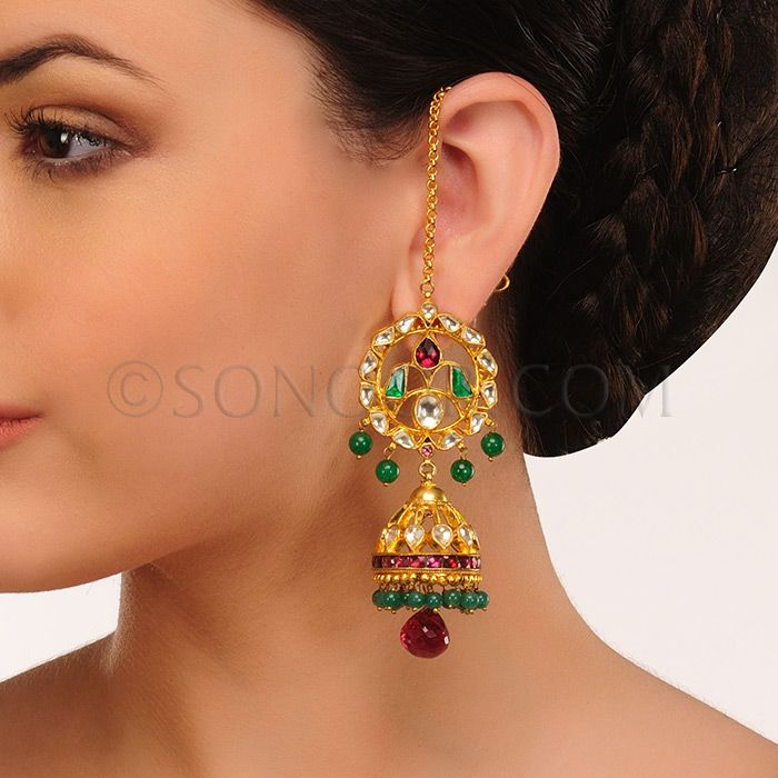EAR/1/3439 Earrings (Jhumki) in dull gold finish studded with kundan, rhodonite, and jade stones	 $118 £70