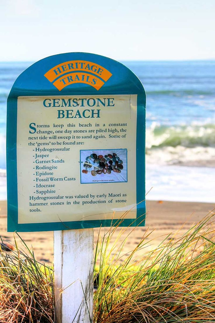 Gemstone-Beach-New-Zealand Known as Gemstone because the beach is in a constant state of change with the surface changing from sand to stones with the storms and tides.