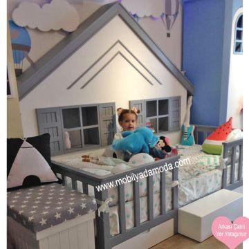 Beşik Bebek odası Büyüyen beşik izmir bebek odası izmir çocuk odası Ranza Bebek bebek odası çoçuk odası beşik izmir ranza yer yatağı montessori yatağı çocuk odası montessori yer yatağı kişiye özel tasarım izmir çocuk odası genç odası Montessori ~ Arkası Çatılı Yer Yatağı Gri 90x190