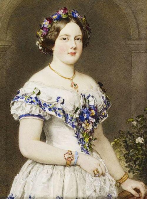 Marie Henriette, Duchess of Brabant, 1853.  In typical mid-Victorian formal evening attire.