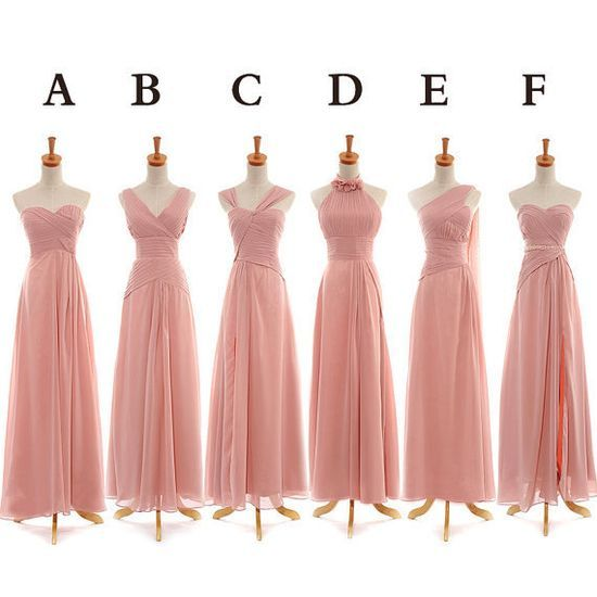 Blush Bridesmaid Dress,Peach Bridesmaid Dress,Simple Chiffon Prom Dress,Long Prom