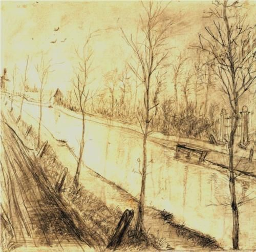 I don't usually pin very famous artists but this is just absolutely lovely, and I've never seen it before.  Canal - Vincent van Gogh