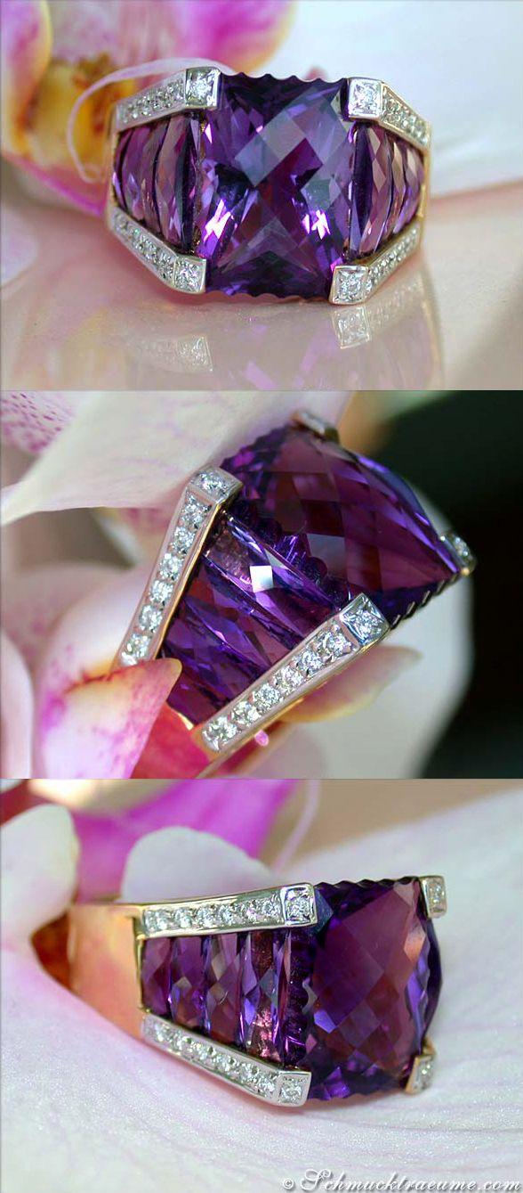 Fabulous Amethyst Diamond Ring, 8,75 ct. YG/WG-18K - Visit: schmucktraeume.com - Like: https://www.facebook.com/pages/Noble-Juwelen/150871984924926 - Mail: info@schmucktraeume.com