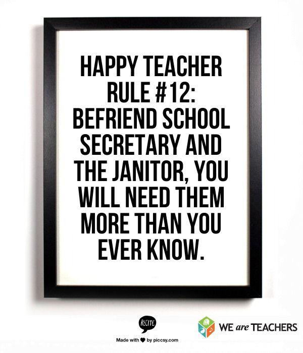 Happy Teacher Rule #12: Befriend the school secretary