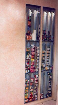 "*LOVE* this!! no ""room"" for food storage?? NO PROBLEM!! Use the space between your wall studs!! Toss on a cabinet door --WALAA!!! :)"