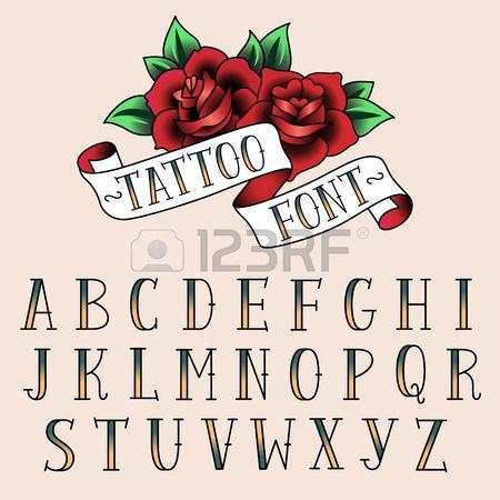 Jeu de lettres de style de tatouage alfabeth pour votre conception  Banque d'images