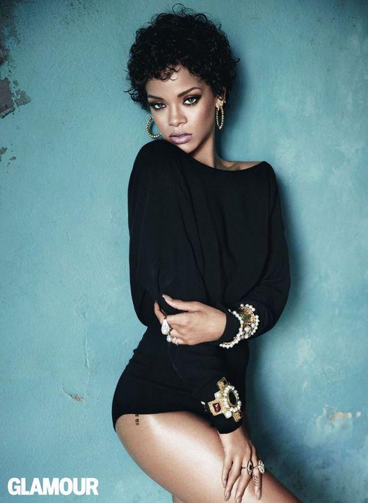 Rihanna in Glamour, November 2013. Bodysuit, Dior; hoops, Kenneth Jay Lane; cuffs, Lynn Ban; rings, Neil Lane Jewelry. Photo: Terry Tsiolis