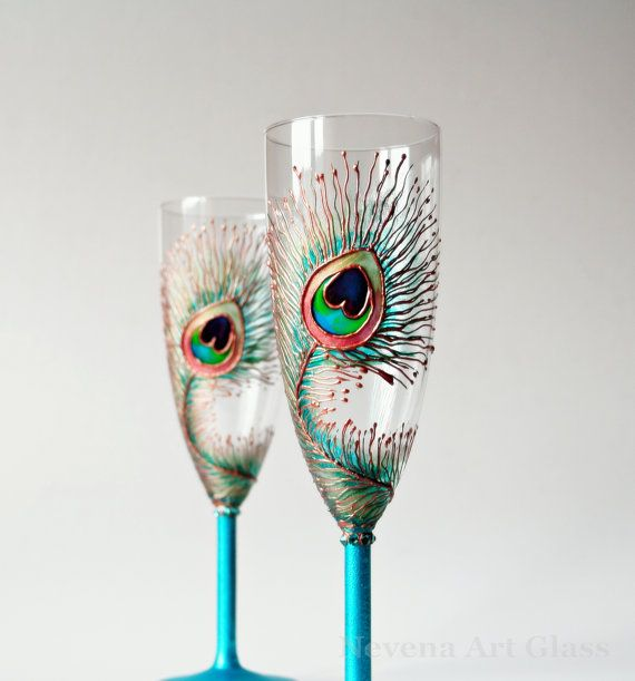 Wedding Glasses HAND PAINTED Peacock Design by NevenaArtGlass, $52.00