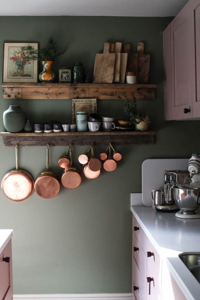Diy Pallet Shelving Copper Pans A Pink Kitchen Pink Kitchen