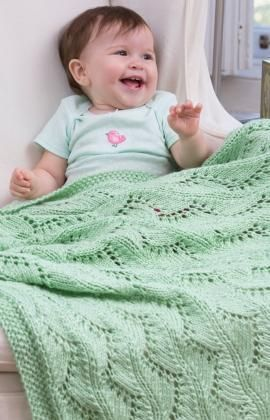 Lace Chevrons Baby Blanket Free Knitting Pattern from Red Heart Yarns