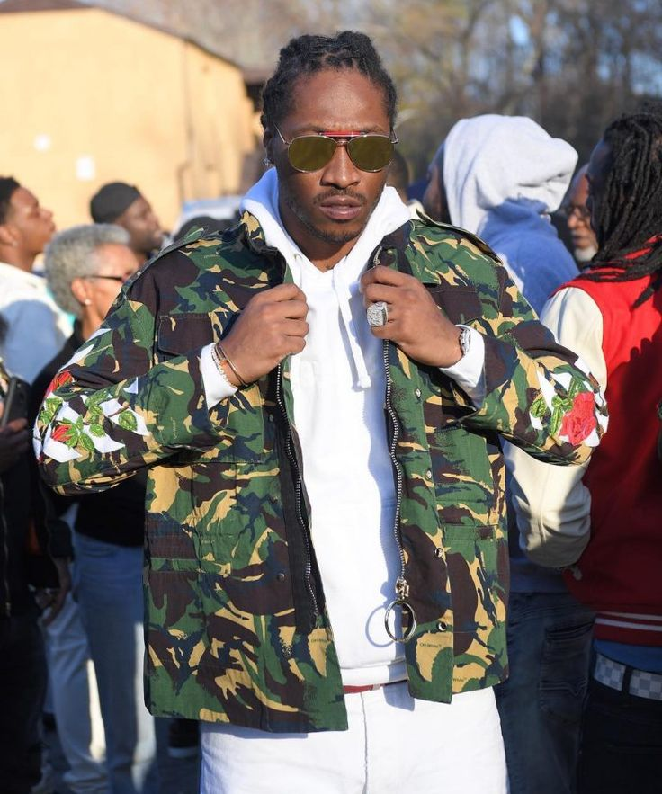 Future Rocks Off-White Jacket And Thom Browne Sunglasses