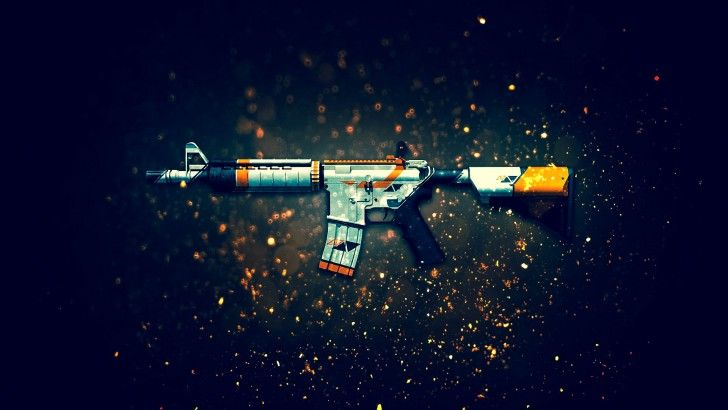 Download M4A4  Rifle Asiimov Counter Strike Global Offensive Weapon Skin 1920x1200
