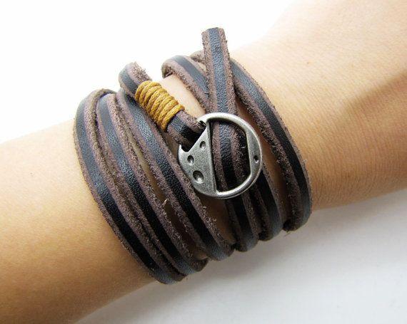 Las mujeres de cuero marrón suave de cuero pulsera con aleación plateado Hebilla hombres cuero brazalete pulsera pulsera Unisex 1270A