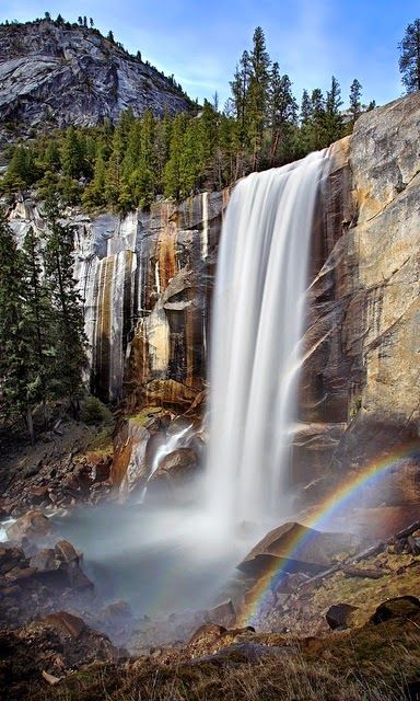 Vernal Falls, Yosemite National Park, California is a 317 foot waterfall on the…