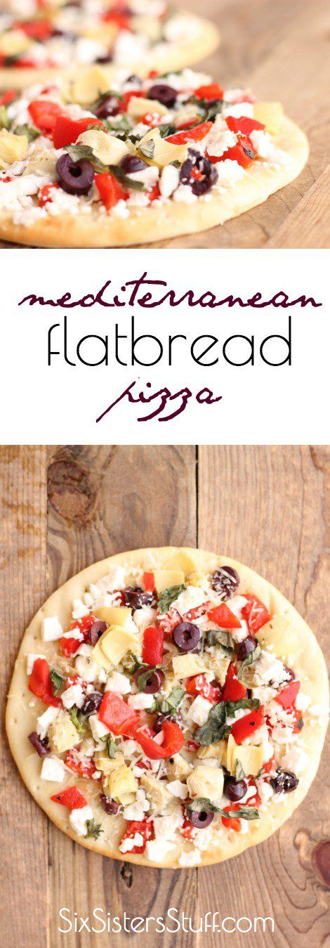 Our Mediterranean Flatbread Pizza is fresh, flavorful, and Perfect quick lunch or dinner on busy days   SixSistersStuff.com