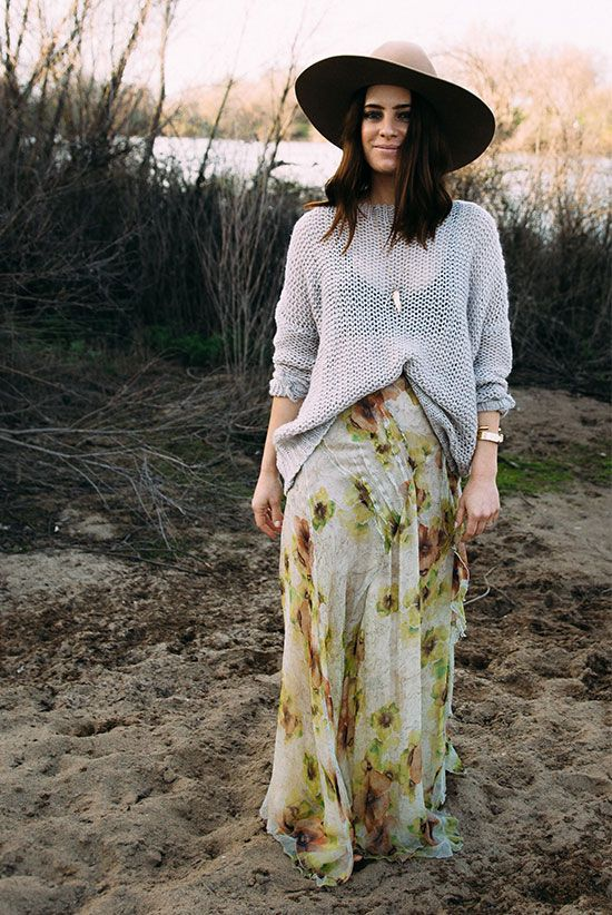 festival outfit, spring outfit, fall outfit, casual outfit, comfy outfit, boho chic outfit, boho outfit - brown hat, grey v-neck sweater, floral maxi skirt, brown suede booties