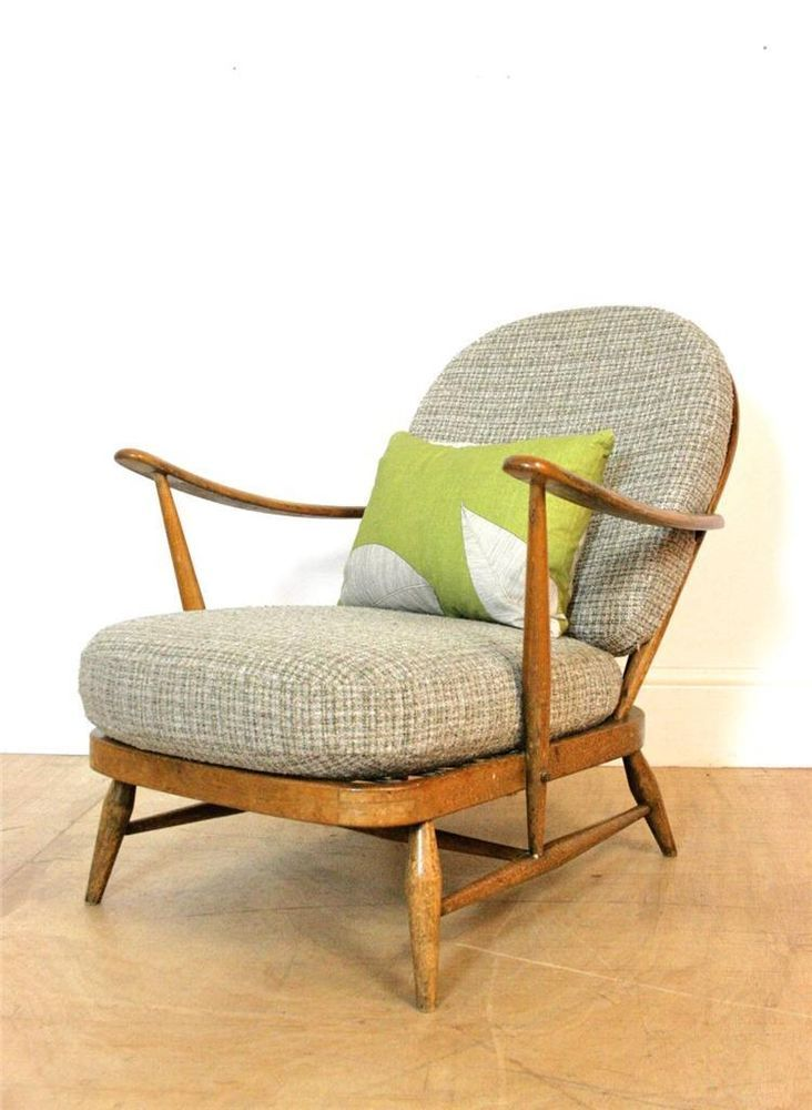 Stunning Ercol Windsor Armchair with Original Grey Upholstery / Margaret Howell in Antiques, Antique Furniture, Chairs | eBay