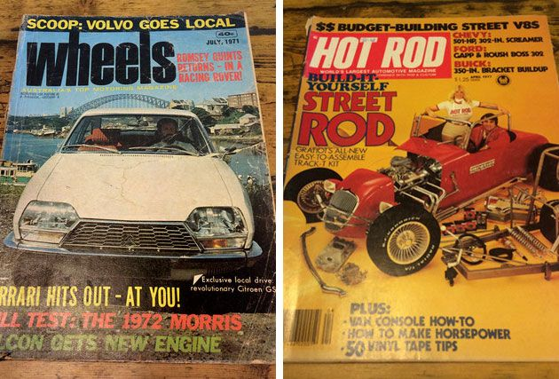 Wheels and Hot Rod collectable magazines at Junked Restoration, Kyneton, Victoria