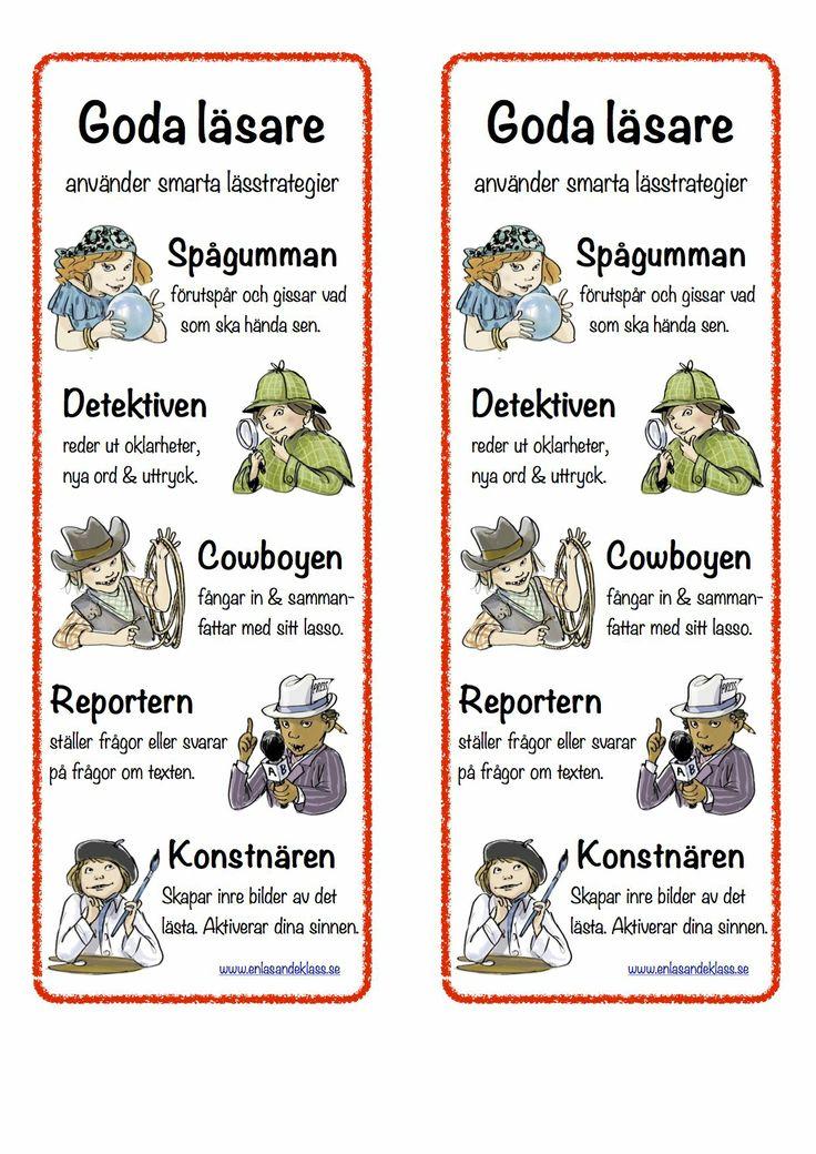 Bokmärken - läsfixare. Goda läsare använder smarta lässtrategier.  www.enlasandeklass.se