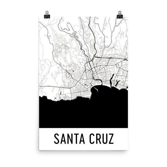 Santa Cruz Map, Santa Cruz Art, Santa Cruz Print, Santa Cruz CA Poster, Santa Cruz Wall Art, Map of Santa Cruz, Santa Cruz Gift, Decor, Map