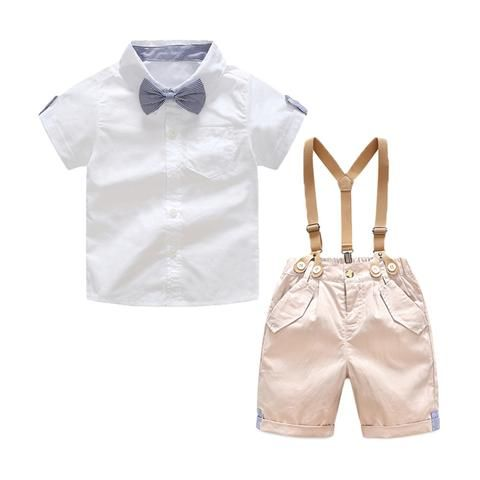 db7384616 Toddler Baby Boys Gentleman Suits Summer Short Sleeve Bow tie White Shirt  +Overallss Shorts Set Infant 2pcs Outfits