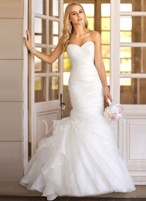Wedding Dresses - $204.29 - Trumpet/Mermaid Strapless Sweetheart Sweep Train Organza Wedding Dress With Ruffle Cascading Ruffles (0025094090)