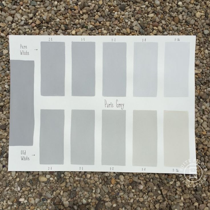 Chalk Paint® Paris Grey Custom Color Chart using Pure White and Old White. Read more on our blog at Suitepieces.com | Suite Pieces