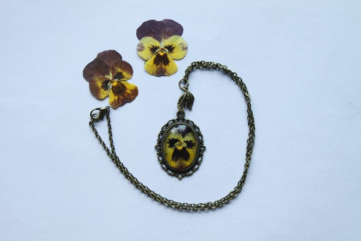 Pressed Real Viola Necklace, Vintage style jewellery, gift for gardener by flowercraftsboutique on Etsy