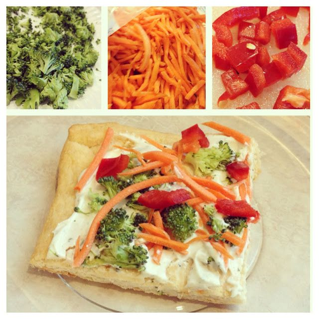 Cold Veggie Pizza  What you need: -1 can of Pillsbury cresant roll dough -1 packet of dried ranch dressing -1 8oz package of softened cream cheese -chopped/shredded vegetables of choice (broccoli, carrots, red bell pepper, etc.)