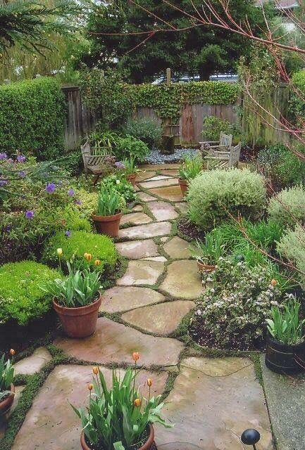 flagstone path pots benches not a bad idea for my front lawn i can use the preformed mold i have to make a flagstone looking path - Flagstone Walkway Design Ideas