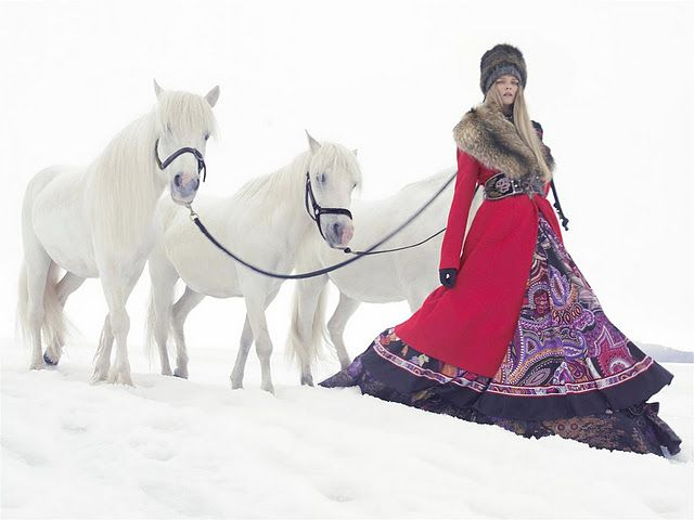 russian royalty #horseSolving Sundsbo, Except, Carmen Kass, Ethnic Fashion, Harpers Bazaar, Snow, Carmen Dell'Oref, Winter Outfit, Vogue China