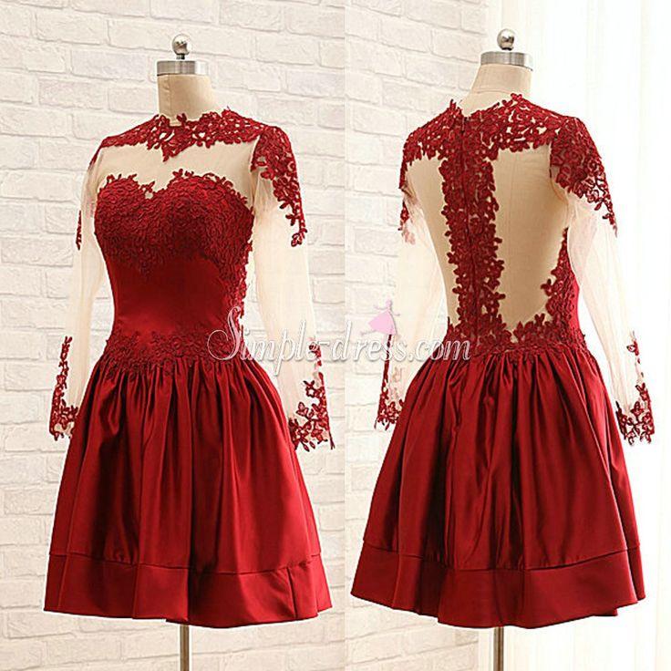 Buy Simple-dress Elegant Cowl Long Sleeves Short Dark Red 2015 Homecoming Dresses/Party Dresses