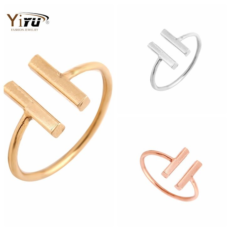 2016 New Gold Plated Classic Double Bars Rings Women Cool Unique Adjustable Bar Shape Midi Rings for Women R115