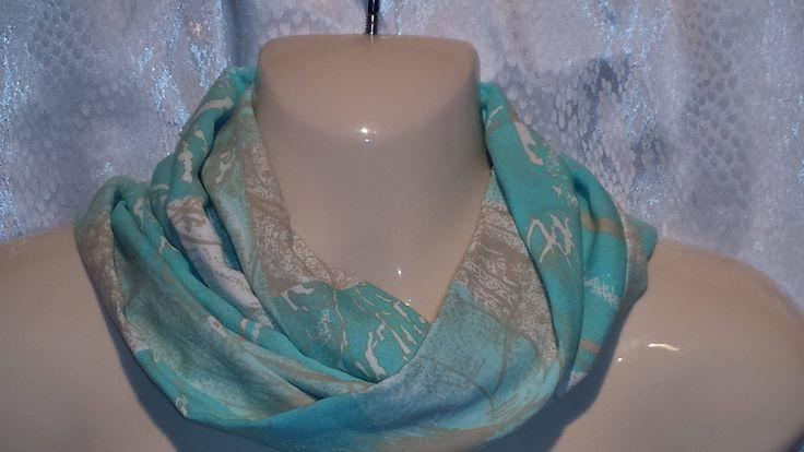 Aqua/beige/white mosaic scarf by Scarfgoroundboutique on Etsy