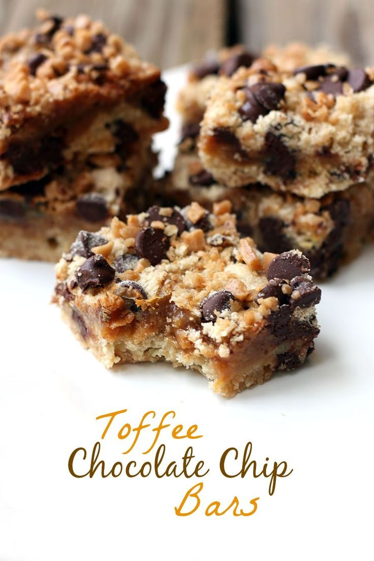 Toffee Chocolate Chip Bars recipe on TastesBetterFromScratch.com