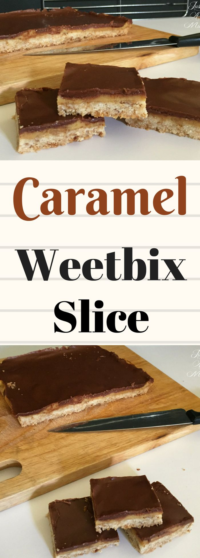 So easy, delicious, great way to use up half a can of condensed milk! Caramel Weetbix Slice is delicious!